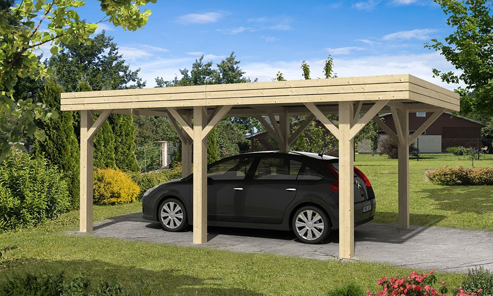 carport toit plat simple 23 4m couvert. Black Bedroom Furniture Sets. Home Design Ideas