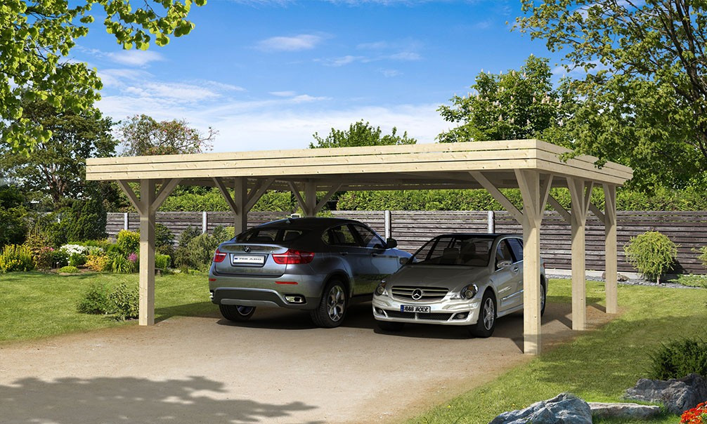 carport 2 voitures br hat toit plat double 40 8m couvert. Black Bedroom Furniture Sets. Home Design Ideas